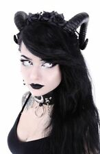 Restyle Large Black Sinister Ram & Roses Horns Gothic Hair Headpiece Headband