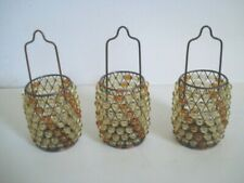 SET OF 3 VINTAGE Beaded Tealight Candle Hanging Holder Amber Colored
