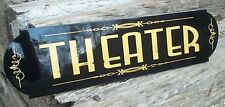 Vintage Art Deco Aged Bronze THEATER Sign, Home Theater hand made Nice Sign