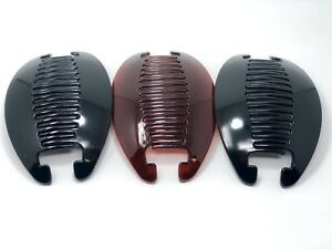 3set Banana Comb Clip Thick Hair Riser Claw Interlocking Jaw Extra(Black-Brown).