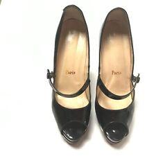 Christian Louboutin Mary Jane Open Toe Heels Size 37 US Size 7 Black Pumps