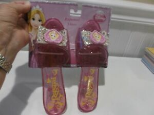 DISNEY PRINCESS RAPUNZEL JELLY SHOES KITTEN HEELS SPARKLY BOWS ~ NEW ON CARD