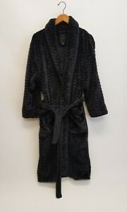 Daniel Buchler Mens Chevron Stripe Fleece Robe  Sz M/L  Black SOFT and Warm