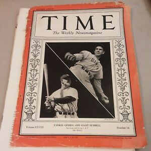 Time Magazine Yankee Gehrig Giant Hubbell October 5, 1936