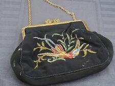 schöne alte Handtasche Petit Point Gobelin Stickerei ca.um1900