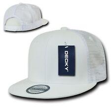 White Solid Blank Plain Mesh Flat Bill Snapback Trucker Baseball Ball Cap Hat