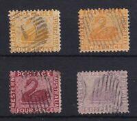 WA277) Western Australia 1882-85 watermark Crown CA perf 12, set of 4 1d to 6d