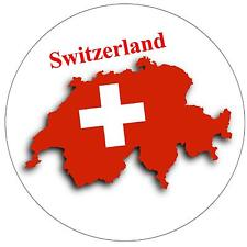 SWITZERLAND MAP / FLAG - ROUND SOUVENIR FRIDGE MAGNET - NEW - GIFT
