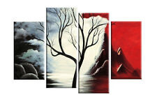 """GRANDE Tela Rosso Nero Bianco Albero Paesaggio Pittura 4 Pannello Muro Foto 40"""""""