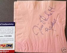 JIM PLUNKETT Signed Used The Fisherman Restaurant Napkin Auto PSA/DNA Autograph