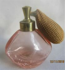 Pink Crackle Glass Perfume Bottle  Atomizer