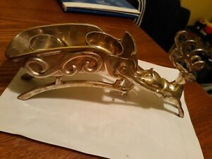 Solid Brass Reindeer Sled Candle Holder