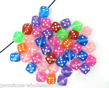 100PCS Wholesale Lots Mixed Transparent Acrylic Dice Spacer Beads 9x9mm GW