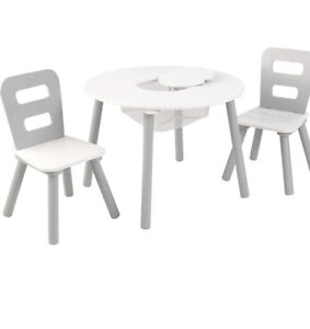 Kid's Round Storage Table & 2 Chair Set - Gray & White by KidKraft NOB
