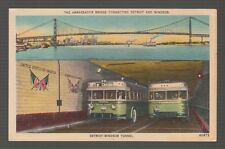 [63476] OLD POSTCARD BUSES in DETROIT-WINDSOR TUNNEL & AMBASSADOR BRIDGE SHOWN