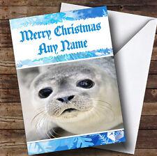 Cute Seal Personalised Christmas Greetings Card