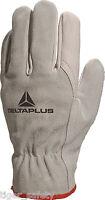 x2 Pairs Delta Plus Venitex FCN29 Grey Full Grain Top Quality Safety Work Gloves