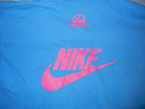 VTG early 90s NIKE Seattle SONICS Hoops camp t-shirt blue Med basketball red lab