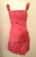 ADRIANNA PAPELL BOUTIQUE rose red TAFFETA rosette frills COCKTAIL dress 10 38