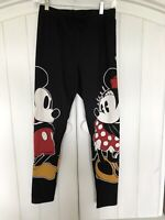 NWOT Official DISNEY Leggings Classic Minnie Mouse & Mickey Black Large