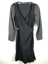 Marithe Francois Girbaud Faux Wrap Sheath Dress Sm? Gray Belted Zip Long Sleeve