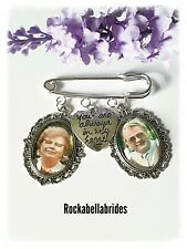 Buttonhole double picture memory charm wedding groom pin( picture inc)