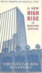 1976 THIRD NATIONAL BANK Road Map NASHVILLE Brentwood Bellevue Tennessee Ashburn