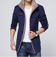 Men Wool Parka Fleece Winter Jacket Single Breasted Trench Coat Overcoat Outwear