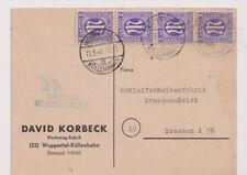 Bizone/AM-Post, Mi. 1z, 4er-Str., Wuppertal/Köllenhahn - Dresden, 11.5.46