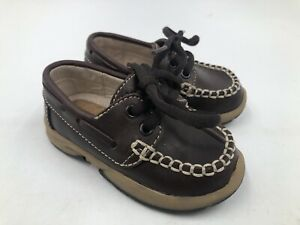 Weebok Reebok Sz 4.5 Baby Toddler Brown Leather Lace Up Loafers Boat Deck Shoes
