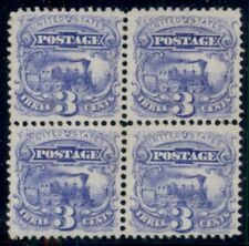 US #114, 3¢ Locomotive, Block of 4, unused no gum, rich blue color and beautiful