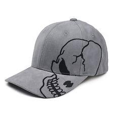 Gray Skull Skateboard Biker Halloween Costume Grey Gothic Goth Baseball Cap Hat
