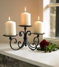 WROUGHT  IRON BLACK PILLAR CANDLE HOLDER TABLETOP DISPLAY HOME WEDDING CHRISTMAS