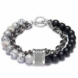 Men's Natural Stone Tiger Eye Beads Punk Bracelets Stainless Steel Male Jewelry