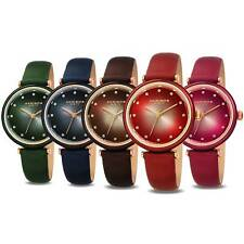 Women's Akribos XXIV AK1035 Swarovski Crystal Markers Leather Strap Watch