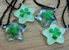 4pc wholesale lots four leaf green clover five star mix design  pendant&necklace