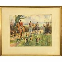 1925 Signed Fox Hunting Watercolor