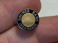 Antique Vintage Savings Bank Insurance 14K Gold & Enamel Lapel Pin