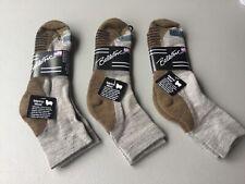 New Men's Ballston 70% Merino Wool Blend Ankle Socks 3 Pair Browns #1050L