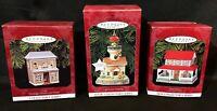3! Hallmark Keepsake Christmas Ornaments Cafe, Lighthouse Greetings, Farm House