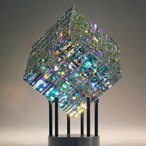 Yellow Magical Cube Statue Blue Sculpture Glass Decoration Magik Chroma Cube