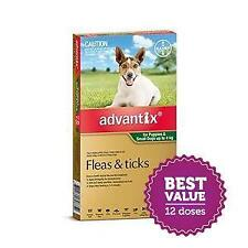 Advantix for Small Dogs up to 4kg Green 12 Pack for fleas and paralysis ticks