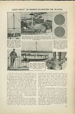 1921 Magazine Article Jazz Boat Merry Go Round Ride Floats on Water Amusement