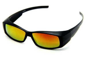 POLARISED FIT OVER SUNGLASSES WRAPAROUND MOST GLASSES UV400 YELLOW