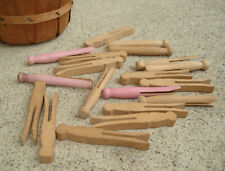 Lot Vintage Wooden Small Mini Dolls Clothes Clothespins In BURLINGTON BASKET CO.