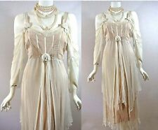 Vintage style Cream Ivory Wedding Bridal Dress Gown Victorian Formal M Nataya NW