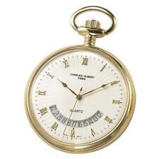 Charles-Hubert- Paris Brass Gold-Plated Quartz Open Face Pocket Watch #3671