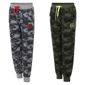 Kids Contrast Logo Camo Tracksuit Bottoms Boys Jogging Pants Sweatpants 3-14 Y