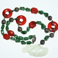 Antique Chinese Carnelian Jade Bead Necklace Pendant Sterling Silver Necklace
