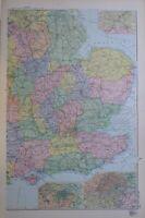 1895 Mappa Sud East Inghilterra London Birmingham Sussex Surrey Cambridge
